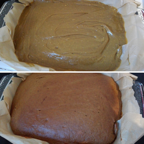 gluten free yorkshire parkin recipe batter before going in the oven compared to coming out of the oven