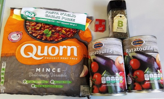 quorn, squeezy garlic, basil and tinned ratatouille