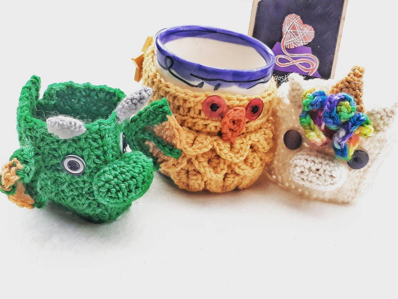 Indigosky2knit novelty mug cosies dragon owl and unicorn