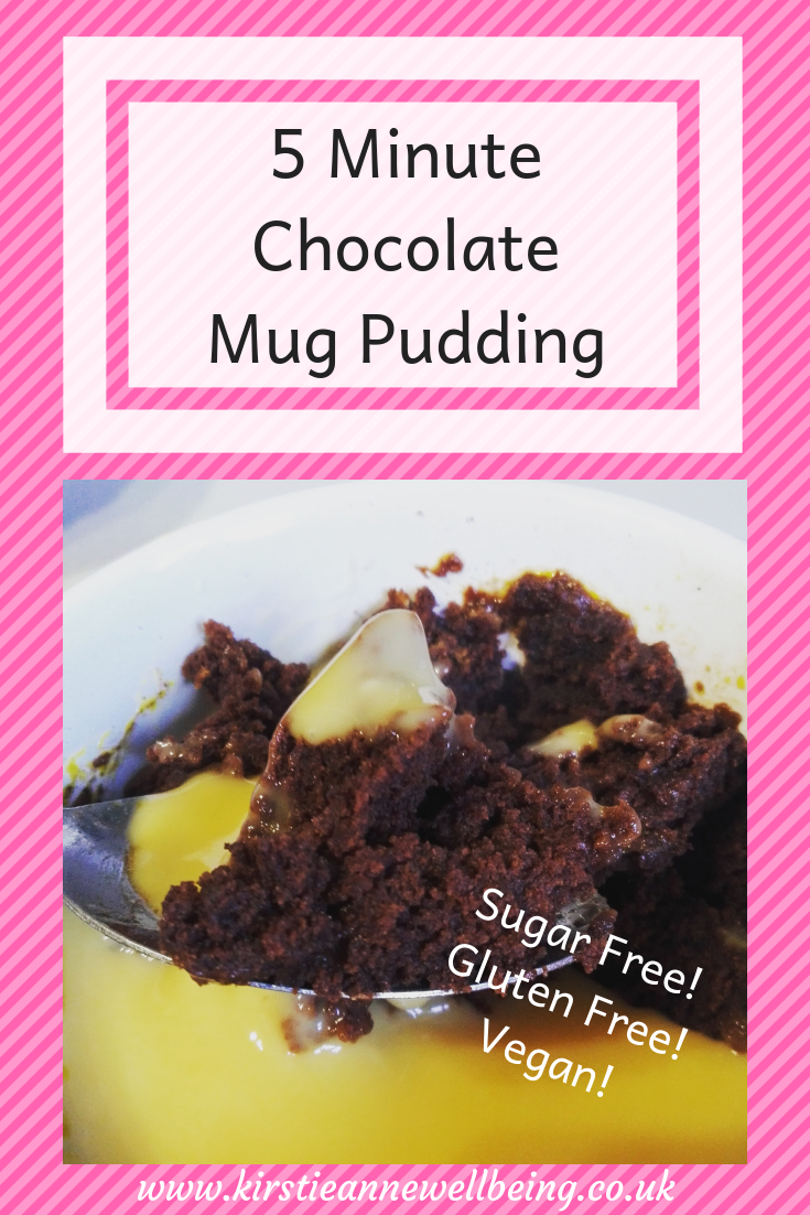 5 minute chocolate mug pudding title picture for pinterest pink background