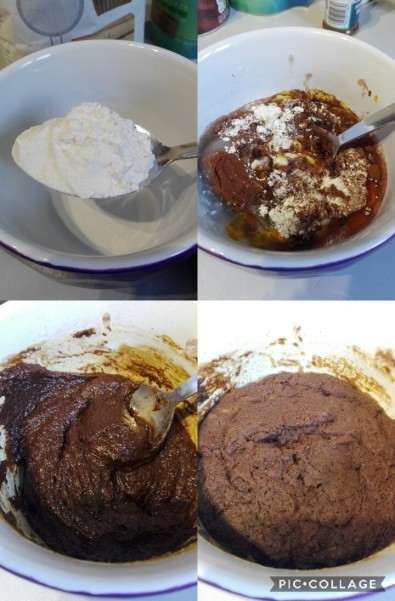 collage of images of making the mug pudding. Various stages of mixed batter and cooked final pudding
