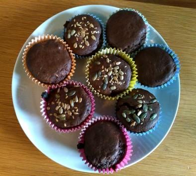 Gluten Free seeded healthy breakfast muffins on a plate