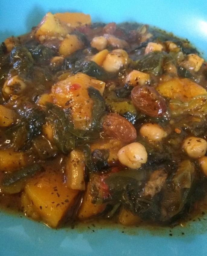 vegan moroccan tagine recipe in a blue bowl