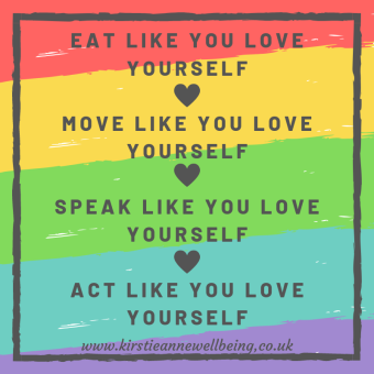 Eat like you love yourself, move like you love yourself, speak like you love yourself, act like you love yourself. Inspirational quote graphic from Kirstie Anne Wellbeing