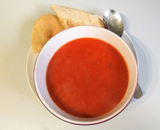 Super easy soup recipe tomato and ginger served with a wholemeal pitta bread