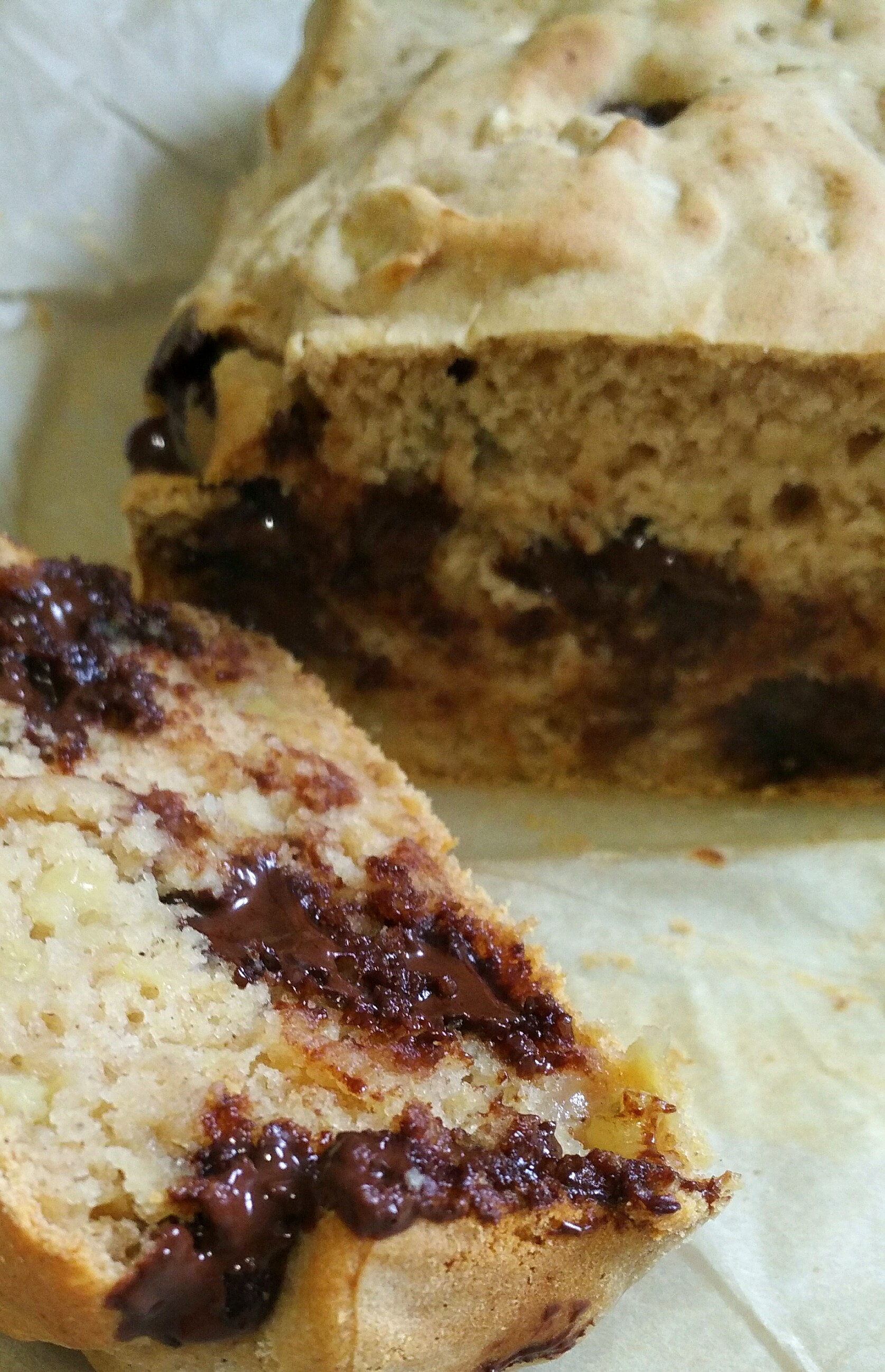 super easy gluten free chocolate chip banana bread cake sliced up