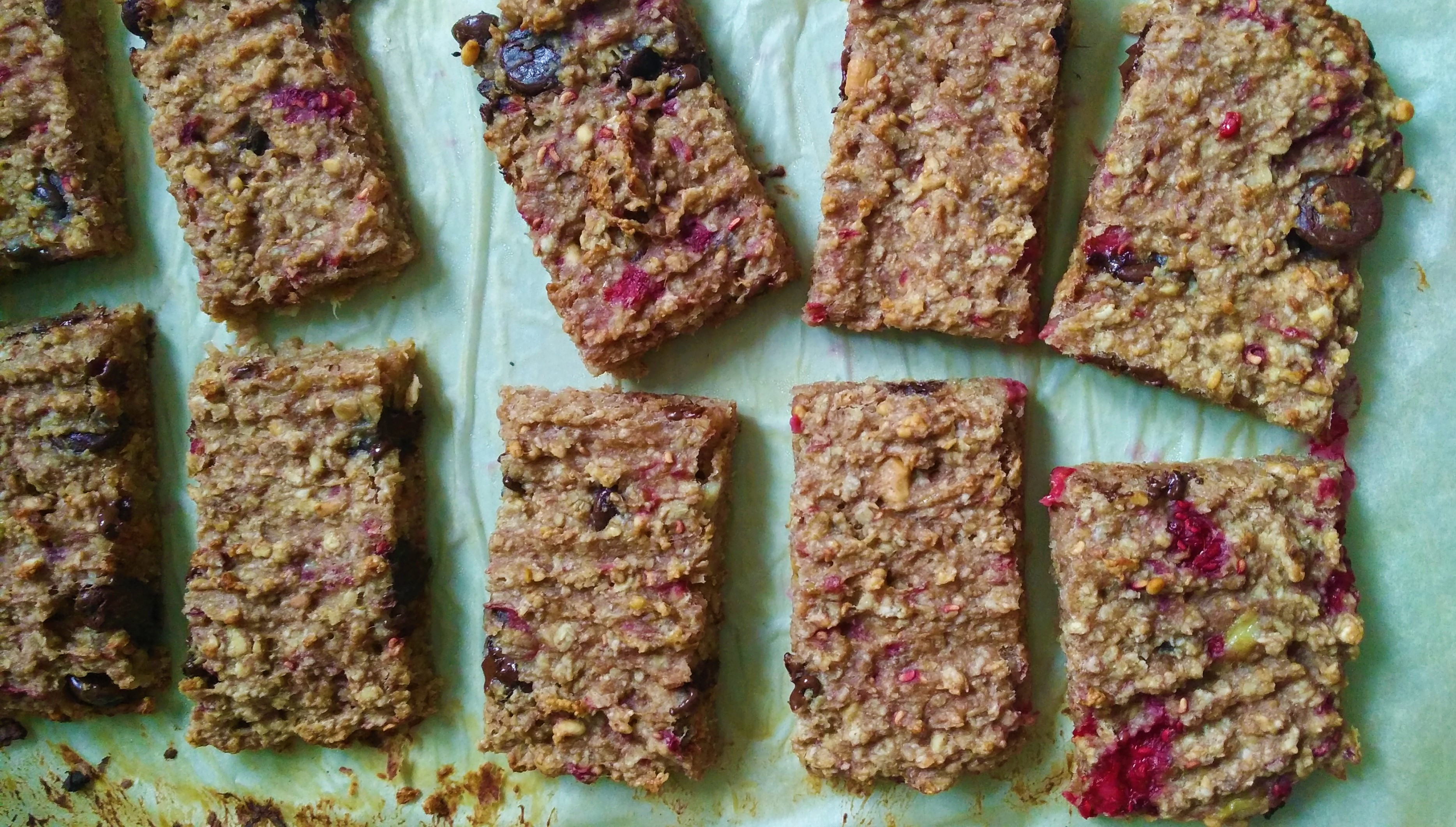 freshly baked gluten free choc chip flapjack bars easy recipe