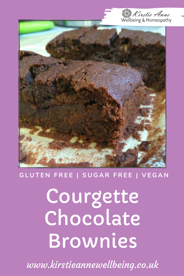 Chocolate courgette brownies easy gluten free vegan recipe which is refined sugar free too! Purple background pinterest pin