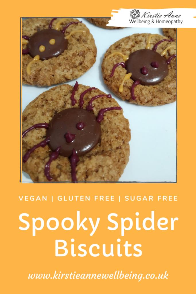 vegan gluten free, sugar free, dairy free spooky spider biscuits for halloween baking. Recipe from Kirstie Anne Wellbeing.