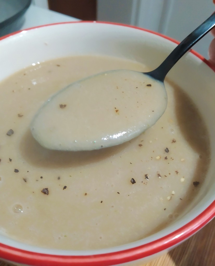 easy chestnut and parsnip soup recipe for busy mums, close up on a spoon