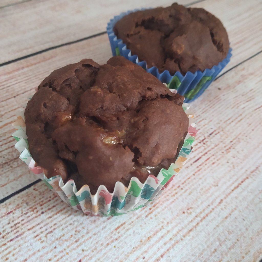 gluten free vegan double chocolate banana muffins in dinosaur cupcake cases