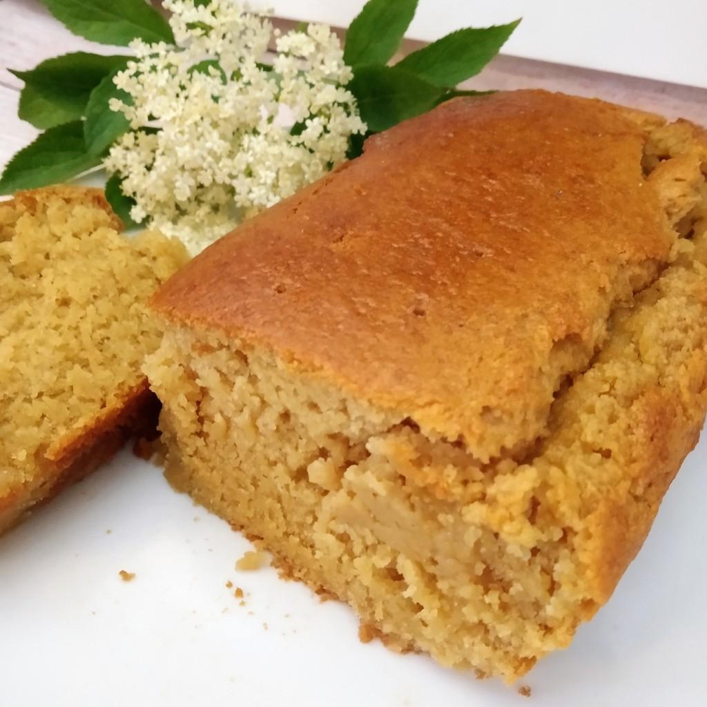 gluten free vegan elderflower drizzle cake close up