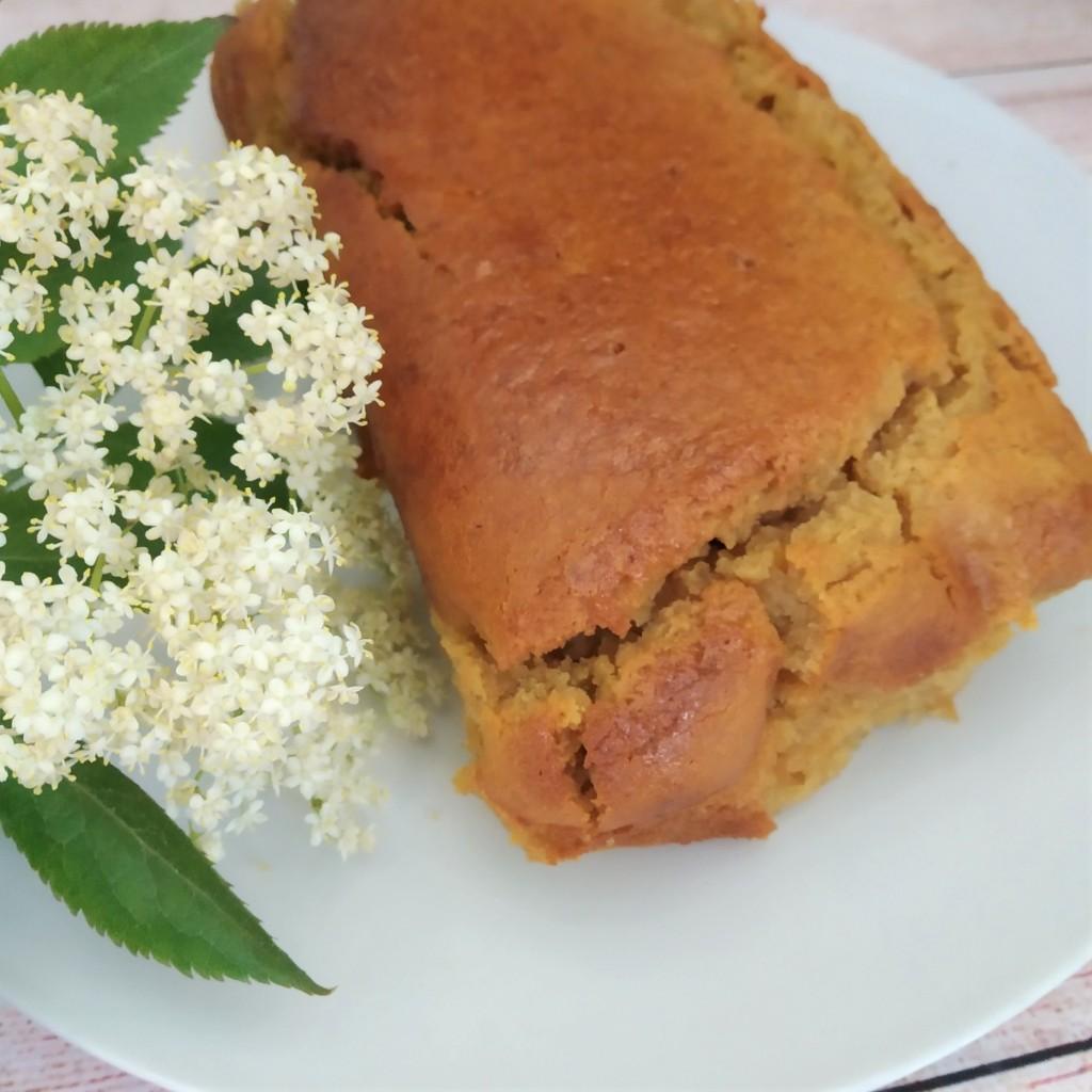 vegan gluten free elderflower drizzle cake with lemon