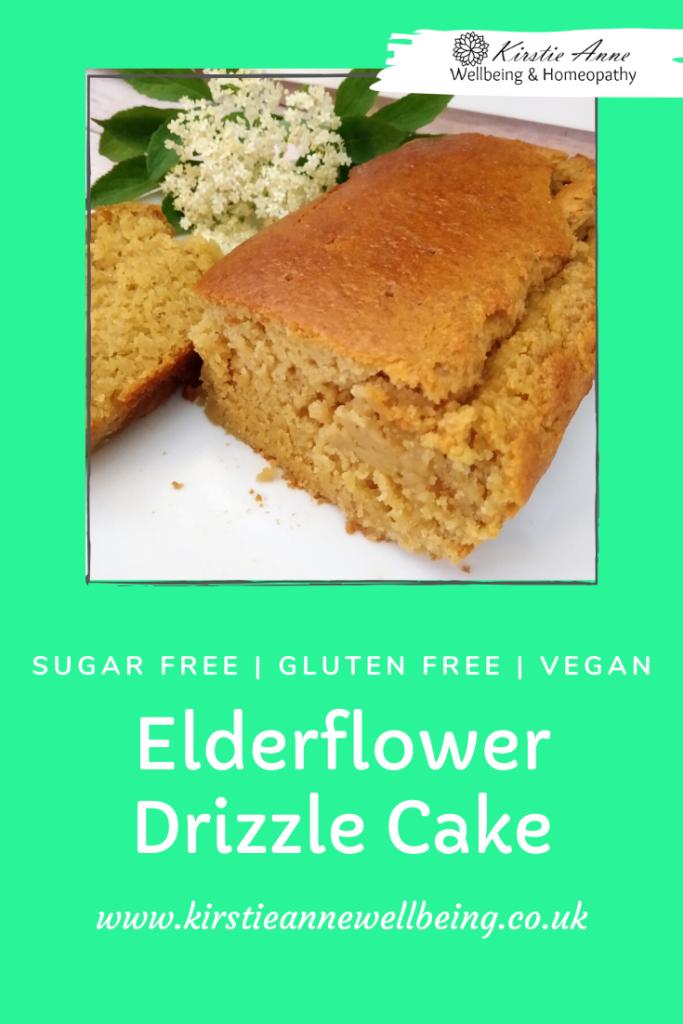 elderflower drizzle cake recipe by kirstie anne wellbeing. Gluten free, vegan, sugar free easy recipe
