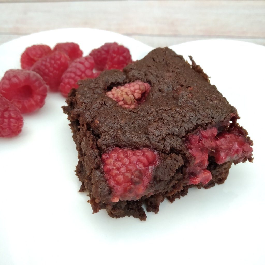 gluten free raspberry brownies, easy summer recipe for baking with kids using fresh raspberries from the garden