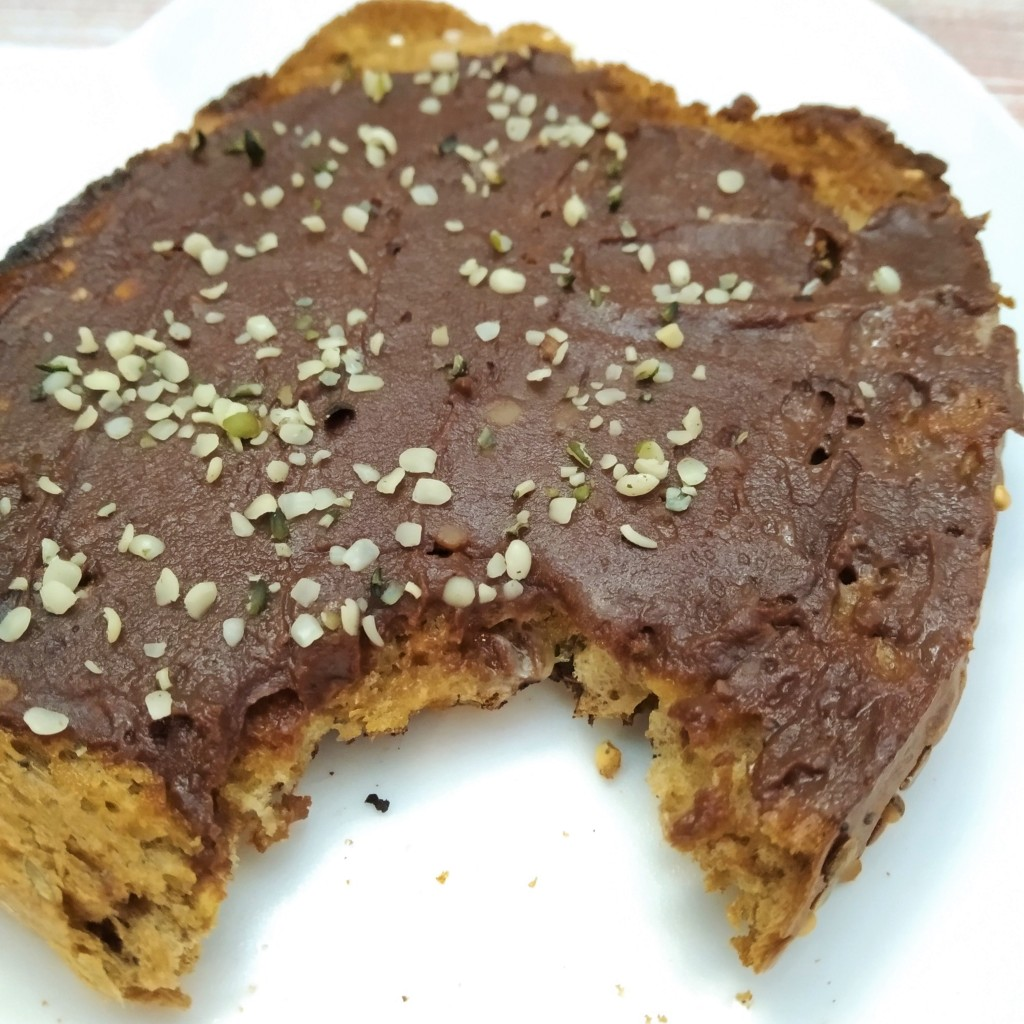delicious plant based chocolate spread recipe on toast with hemp seeds