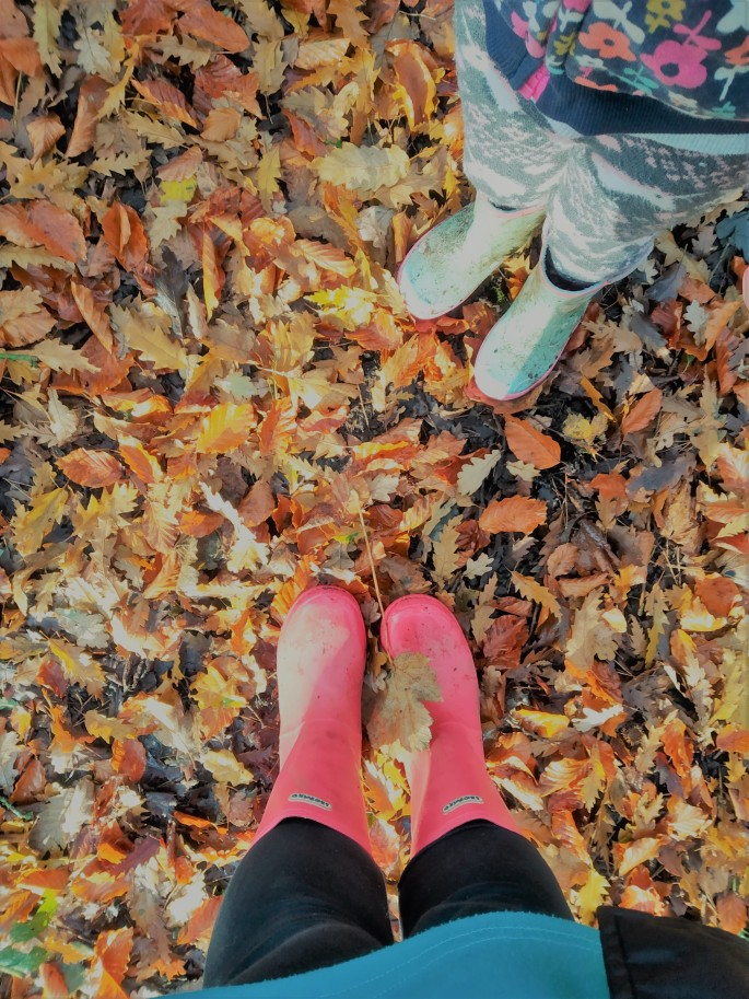 how to celebrate national tree week with your family in lockdown in england 2020. wellies on autumn leaves in the woods